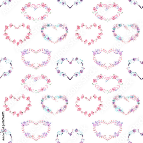 Seamless pattern with watercolor hearts of pink and purple flowers, hand drawn on a white background - 134744175