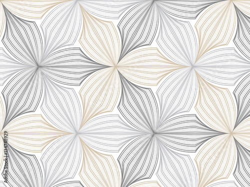 flower pattern vector, repeating linear petal of flower, monochrome stylish - 134748929