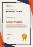 Certificate of Appreciation template. Flat geometric design. Layered eps10 vector. - 134750936