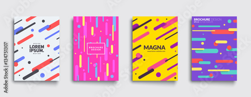 Covers with flat geometric pattern. Cool colorful backgrounds. Applicable for Banners, Placards, Posters, Flyers. Eps10 vector template. - 134751307