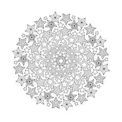 Graphic Mandala with outline stars. Zentangle inspired style.