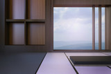 Simple Modern Japanese living room and Minimal window frame and views of mountains and sky