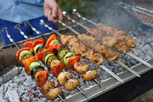 Beef and chicken kebab. Fresh meat at grill, bbq
