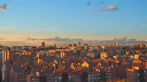 madrid skyline at sunset pan