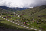 The view from the height of a mountain village. Village Fiagdon. North Ossetia. Russia.