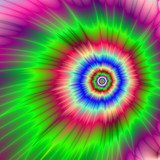 Psychedelic Asteroid Destruction / A digital fractal image with a psychedelic color explosion design in red blue green and violet.  - 134770730
