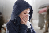 Woman caught cold , flu, running nose. Health care and medical concept