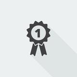 Black flat Prize Ribbon icon with long shadow on white backgroun - 134793315