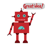 Vector illustration of a toy Robot and text Great idea!