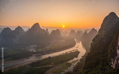 Papiers peints Guilin Sunrise Landscape of Guilin,
