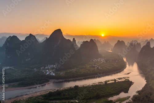 Staande foto Guilin Sunrise Landscape of Guilin, Li River and Karst mountain in China.Morning in guilin.