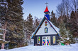 Chapel in Santa Claus village in winter. Nice place to spend winter holidays active.
