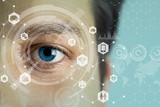 young mans eye and technology concept, smart contact lens display, Iris verification, wearable computing, abstract image visual