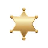 Shiny gold sheriff star, isolated on white background. Vector illustration