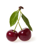 Cherry with green leaves isolated on white background