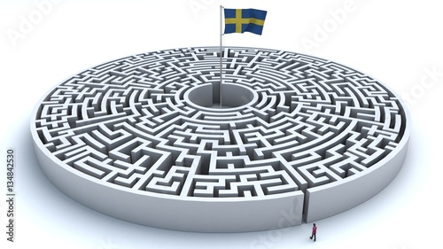 3D illustration of maze with a flag from Sweden at the center with a man trying to reach it