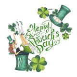 Happy Patricks Day Illustration Hand-Painted Green Shamrock
