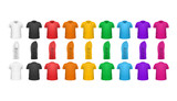 Color T-shirts Front View Vector Set Isolated