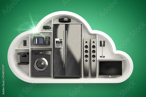 Poster Composite image of black electrical appliance in cloud shape 3d