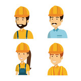 builders group avatars characters vector illustration design