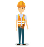 male builder avatar character vector illustration design