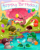 Happy Birthday card with cute animals in the countryside