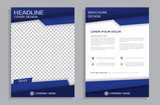 Blue flyer design template - brochure - annual report, front and back page  - 134879560
