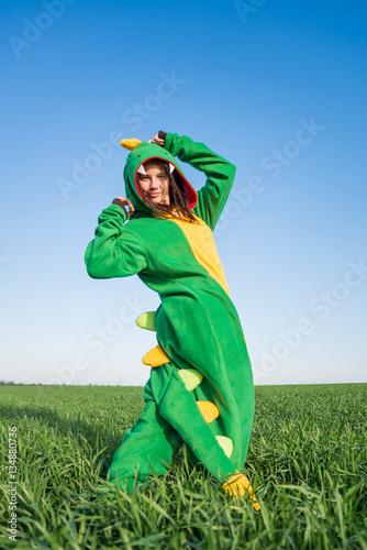 Plagát Girl dragon kigurumi