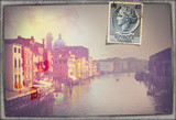Venezia,old fashioned postcard with vintage stamp
