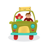 Couple in car going on a trip.