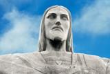 Closeup of landmark Christ the Redeemer in Rio de janeiro, Brazil