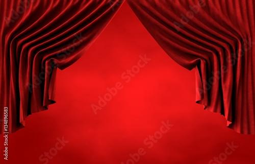 Papiers peints Rouge Tiyatro Perdesi, Kırmızı Perde, Kırmızı Sahne Alanı
