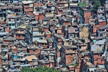 Cluster of homes in Rocinha, a favela in Rio de Janeiro, Brazil.
