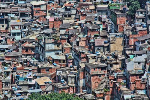 Cluster of homes in Rocinha, a favela in Rio de Janeiro, Brazil. Poster