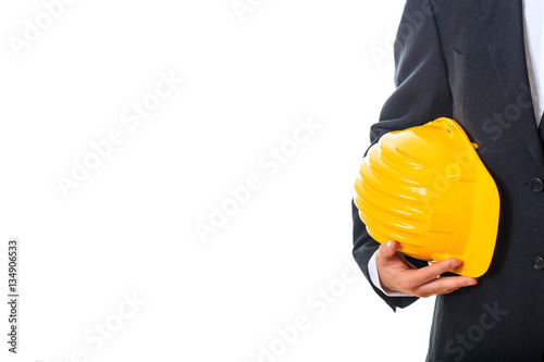 Poster Engineer holding a hard hat