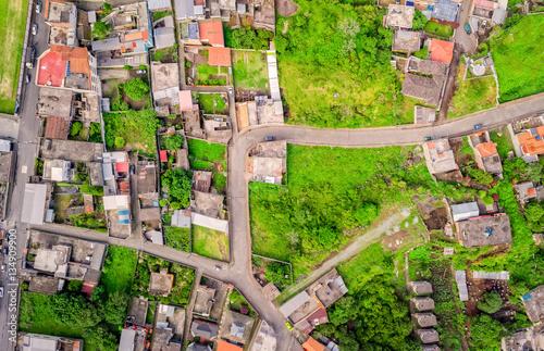 Foto op Aluminium Op straat Aerial View Of City Neighborhood, Banos, Ecuador
