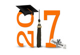 graduation 2017 orange numbers and black cap and tassel with dipolma isolated on white - 134911320