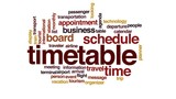 Timetable animated word cloud, text design animation.