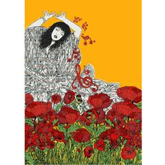 ballerina sù sfondo giallo con fiori rossi