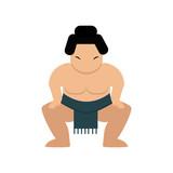 Cartoon japanese fat sumo wrestler vector illustration.