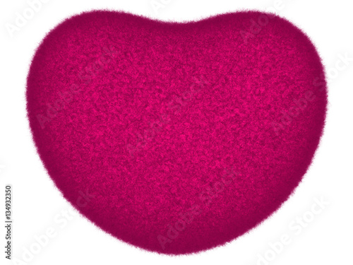 Purple fluffy heart isolated on white. Pleasant symbol of warm and friendship.