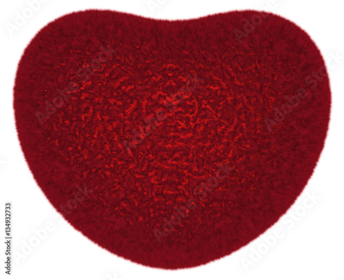 Furry red love symbolic heart isolated on white. Some glowing from inside, warm and gentle.
