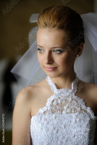 Poster portrait of a girl in a wedding dress.