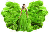Fashion Model Waving Dress as Wings, Woman in Green Gown Flowing Fabric, Girl in Flying Cloth Isolated over White