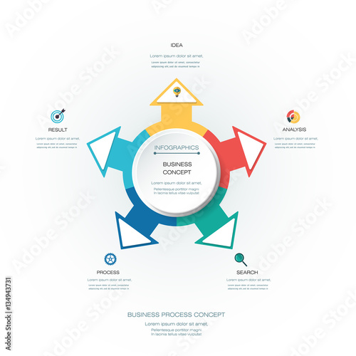 Tuinposter Abstract bloemen Vector Infographic 3D circle label design template with arrows sign and 5 options or steps. Infographics for business presentations or information banner, process diagram, flow chart, graph, scheme