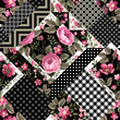 seamless floral patchwork pattern with pink roses and geometric