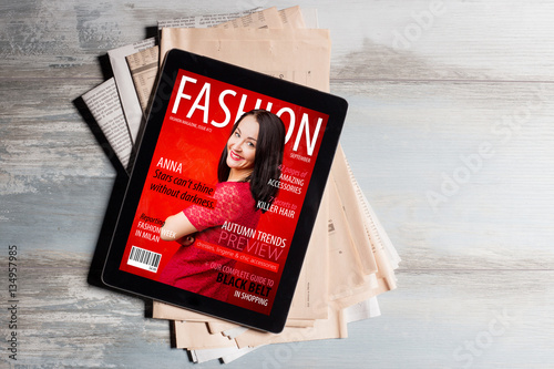 Fashion magazine cover on tablet Poster