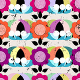floral seamless pattern background, with circles, strokes and sp