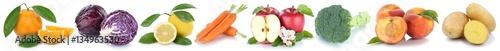 Obst und Gemüse Früchte Apfel Orange Karotten Möhren Pfirsich