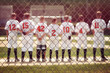 Blurred youth baseball background, children in a row at the begi